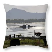 Cartoon - Shalimar Garden - The Dal Lake And Mountains In The Background In Srinagar Throw Pillow