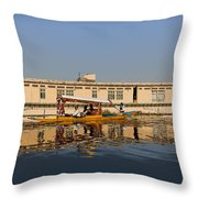 Cartoon - Shikara With Tourists Passing In Front Of A Large Houseboat In The Dal Lake Throw Pillow