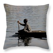 Cartoon - Splashing In The Water Caused Due To Kashmiri Man Rowing A Small Boat Throw Pillow