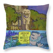 Cartoon - Statue Of The Merlion With A Banner Below The Statue Throw Pillow
