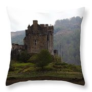 Cartoon - Structure Of The Eilean Donan Castle In Front With Dry Part Of Lake Throw Pillow