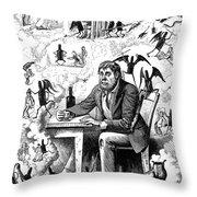 Cartoon Alcoholism, 1874 Throw Pillow