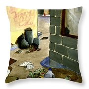 Cartoon Alley Throw Pillow