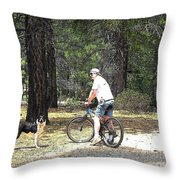 Cartoon Collection No 45 Life With A Border Collie In Usa Throw Pillow