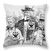 Cartoon Depicting The Impact Of Franklin D Roosevelt  Throw Pillow