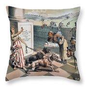 Cartoon Immigration, 1885 Throw Pillow