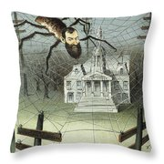 Cartoon Jay Gould, 1885 Throw Pillow