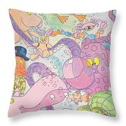 Cartoon Sea Creatures Throw Pillow
