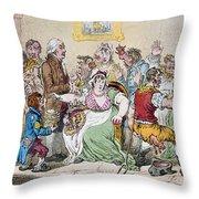 Cartoon: Vaccination, 1802 Throw Pillow