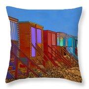 Cartoonised Beach Huts Throw Pillow