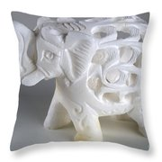 Carved Elephant Throw Pillow