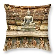 Carved Figures At Wat Mahathat In 13th Century Sukhothai Histori Throw Pillow