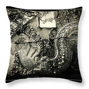Carved Naga At Banteay Srey Throw Pillow