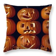 Carved Pumpkins  Throw Pillow