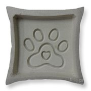 Carved Sand Paw Print Throw Pillow