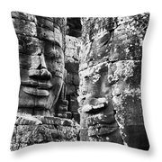 Carved Stone Faces In The Khmer Temple Throw Pillow