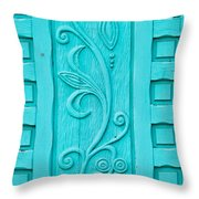 Carved Turquoise Door Throw Pillow