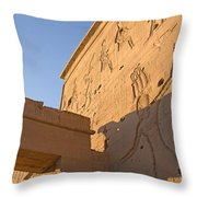 Carved Wall Of The Temple  Philae  Throw Pillow