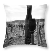 Carved Wine Bottle And Wine Glass Throw Pillow
