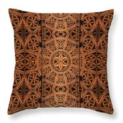 Carved Wooden Cabinet Symmetry Throw Pillow