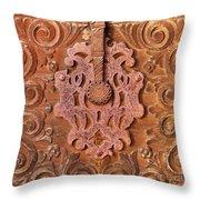 Carved Wooden Door Throw Pillow