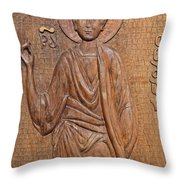 Carved Wooden Door At The Tsminda Sameba Cathedral Tbilisi Throw Pillow