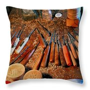 Carving Tools Of Pietro Picetti Throw Pillow