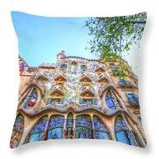 Casa Batllo Facade Throw Pillow