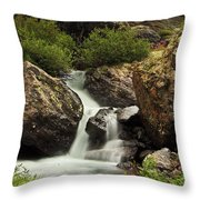 Cascade In Lower Ice Lake Basin Throw Pillow