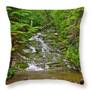 Cascade Over Mossy Rocks Along La Chute Trail In Forillon Np-qc Throw Pillow