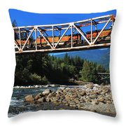 Cascades Rail Bridge Throw Pillow