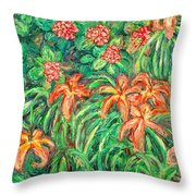 Cascading Day Lilies Throw Pillow