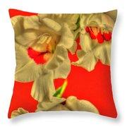 Cascading Gladiolas Throw Pillow