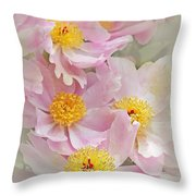 Cascading Pink Peony Flowers Throw Pillow