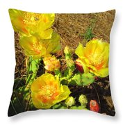 Cascading Prickly Pear Blossoms Throw Pillow