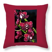 Cascading Red Orchids Throw Pillow