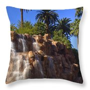Cascading Rocky Waterfall Throw Pillow