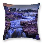 Cascading Waterfalls At Sunset Throw Pillow