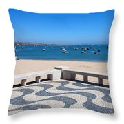 Cascais Promenade And Bay In Portugal Throw Pillow