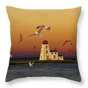 Cascumpec Lighthouse On Prince Edward Island Throw Pillow
