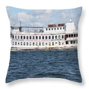 Casino Boat Coming Into Port Throw Pillow