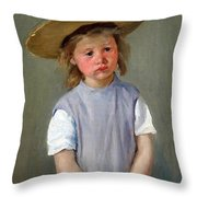 Cassatt's Child In A Straw Hat Throw Pillow