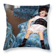 Cassatt's Little Girl In A Blue Armchair Throw Pillow