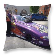 Cassie Simonton With Her Alcohol Funny Car Throw Pillow