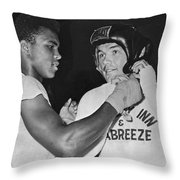 Cassius Clay And Johansson Throw Pillow
