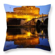 Castel Sant'angelo And The Tiber River Throw Pillow