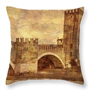 Castel Vecchio And Bridge In Verona Italy Throw Pillow