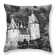 Castell Coch Mono Throw Pillow