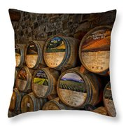 Castello Di Amorosa Of California Wine Barrels Throw Pillow