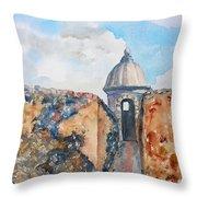 Castillo De San Cristobal Sentry Door Throw Pillow